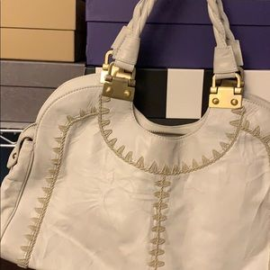 White with stitching Rafe purse.